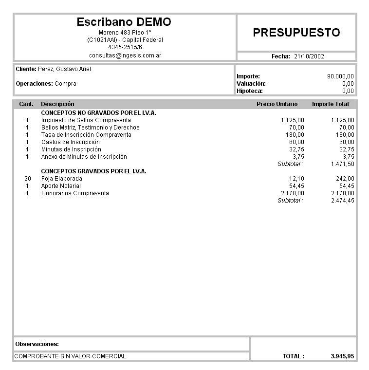 Presupuestos: cálculo automático de proformas